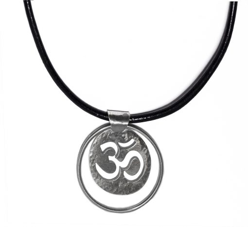 Silver and Leather OHM necklace