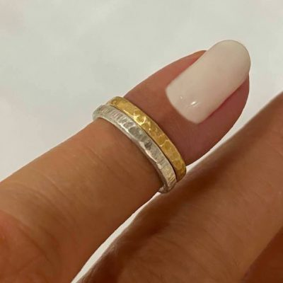 18K and silver pinky knuckle rings