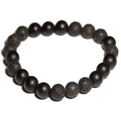 Lava and onyx beaded stones bracelet