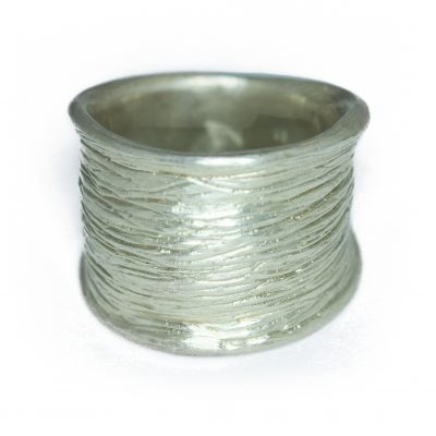Extra wide textured silver ring