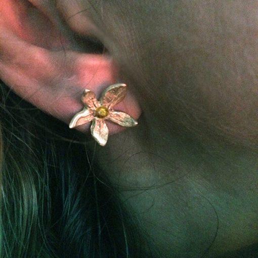 Flower 18k gold ball earring