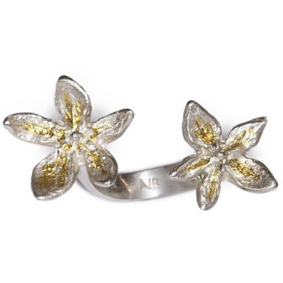 Silver with 24K flower power in between finger ring
