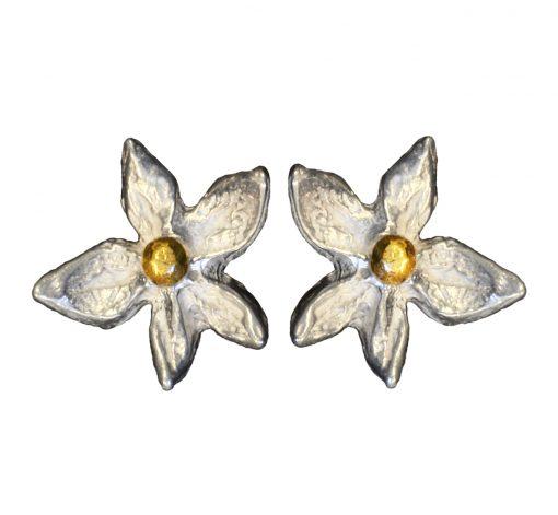 Flower 18k gold ball earrings