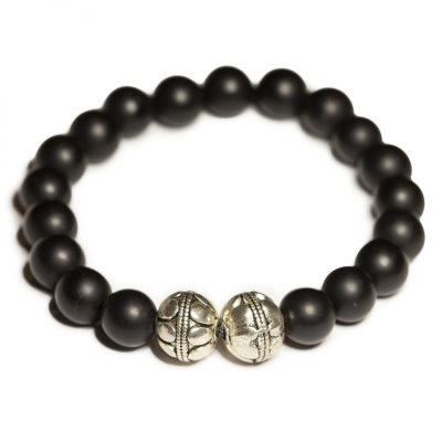 Onyx and silver decorative balls bracelet