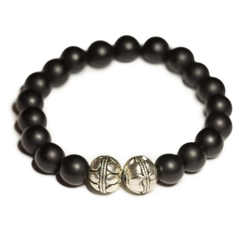 Onyx and silver decorative balls bracelet