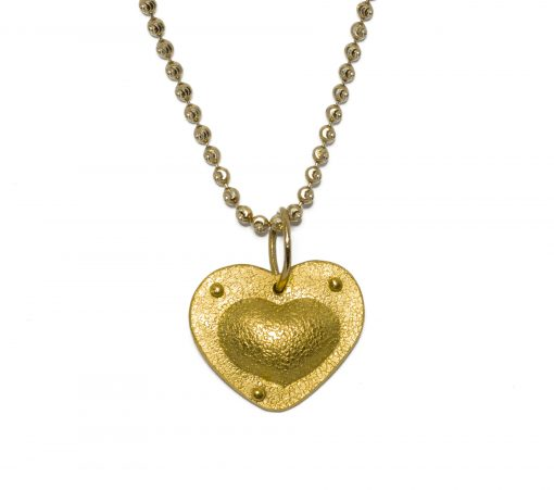 24K riveted heart necklace