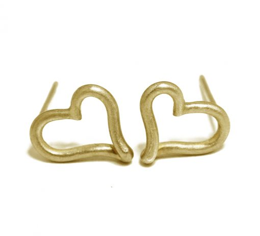 Open heart 18K gold studs