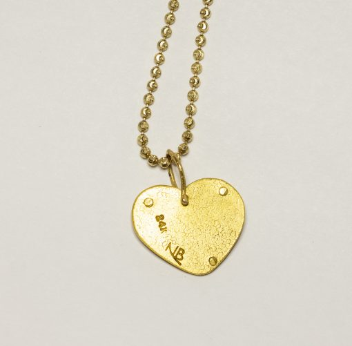 24K riveted heart necklace's back